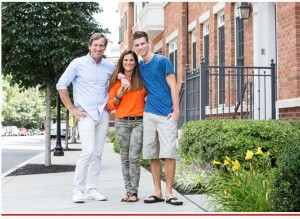 Jim and Judy Betlyon with one their three sons, Casey, outside their Palmer Square townhouse in Princeton, NJ. Photo: Christian Johnston