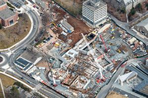 This aerial photograph shows progress on the arts complex construction site as of mid March 2015. (Photo by Aerial Photos of New Jersey)