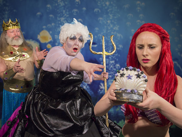 L to R: Pat Parton as Triton, Gabrielle Affleck Ursula, Rachael Shadle as Ariel